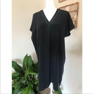 Vince Navy silk draped tunic shirt dress
